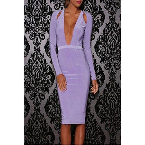 PU&PU Femmes Party / Cocktail Club Hollow Out Bodycon robe, Deep V manches longues été / printemps violets