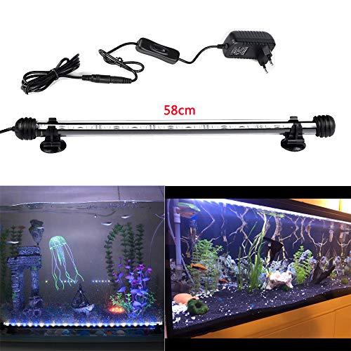DOCEAN 58CM Aquarium Lampe Beleuchtung 7.8W 5050SMD Weißlicht & Blaulicht Lighting 33 LEDs Leuchte Licht Wasserdicht IP68 für Fisch Tank