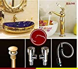 Luxury Golden Glass Art Porcelain Bathroom Countertop Ceramic Washbasin One Set