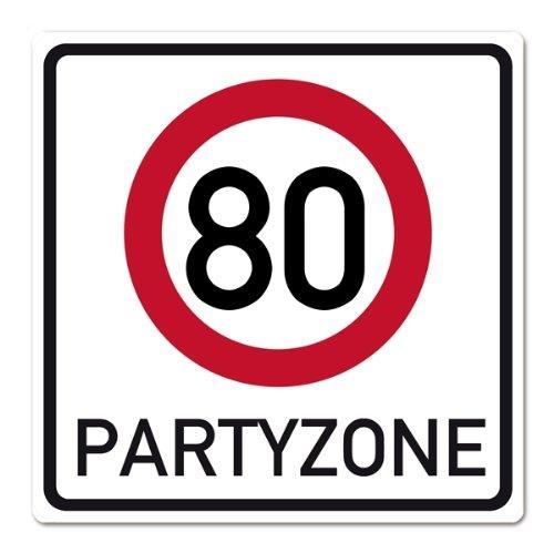 Herz & Heim® Riesiges PVC Verkehrsschild zum 80. Geburtstag 50cm x 50cm (Billig 50 Geburtstag Dekorationen)