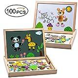 MOVEONSTEP Magnétique Puzzles Éducatifs en Bois Jouet 100 PCS Double Face Magnétique Planche à Dessin avec 3 Couleur Marque Stylos pour Enfants Âge 3+ (Panda)