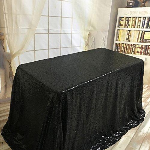 ke mit Pailletten, rechteckig, 90 x 156 cm, Schwarz, 50x50-Inch ()