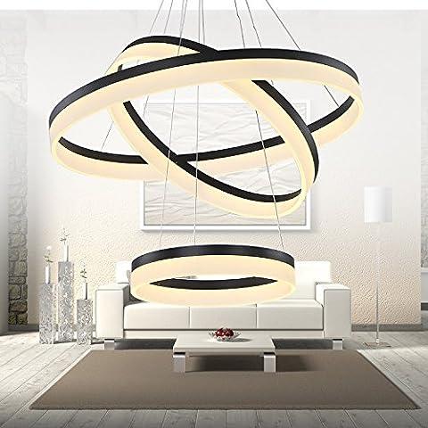CLG-FLY lampadario Led creative lampadario acrilico minimalista moderno camera da letto camera da pranzo tre luci,pendente a doppio anello 50+70CM-47W,bianco caldo
