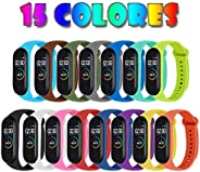 Monuary 15 Piezas Correas para Xiaomi Mi Band 4 / Mi Band 3 Pulsera Reloj Silicona Banda para Xiaomi Mi Band 4