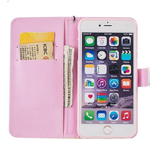 JGNTJLS - Elegante custodia protettiva a portafoglio in pelle sintetica di PU, ultra sottile e aderente, con linguetta magnetica integrata, laccetto di colore nero, scomparto per carte di credito e su Pink,Tower