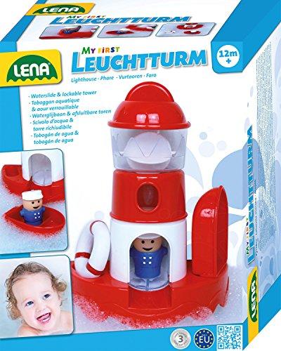 Lena 65472 - Wasserspaß Leuchtturm, Badespielzeug aus Kunststoff, Spielset mit Leuchtturm, Spielfigur, Rettungsring und Boot, Wasserspielzeug Set für Kleinkinder ab 1 Jahr, Badewannenspielzeug