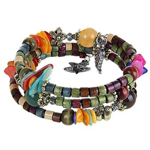 MJARTORIA Damen Armband Bunt Perlenarmband Boho Armreif mit CZ Kristall Anhänger Armkette