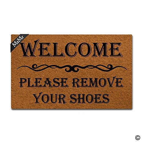 msmr Fußmatte Eingang Fußmatte Welcome entfernen Sie bitte Ihre Schuhe Matte Innen dekorativer Home und Office Fußmatte 23,6von 39,9cm (Bitte Entfernen Sie Schuhe Tür Matte)