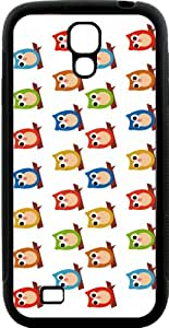 Rikki Knight Multi-Color Owls on White Samsung Galaxy S4 Case Cover (Black Hard Rubber TPU with Bumper Protection)