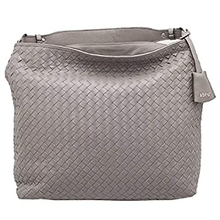 Abro Grey Woven Leather Shoulder Handbag N/A Grey