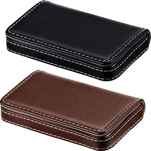 2 Stück Visitenkartenhalter, Visitenkarten Mappe PU-Visitenkarte-Kasten-Taschen-Handelsname-Kartenhalter mit Magnet Shut-Kreditkarte ID Case/Wallet (Black and Coffee)