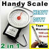Compact Luggage Scale for 35kg/77lb Weight and 1m/39in Tape Measurement