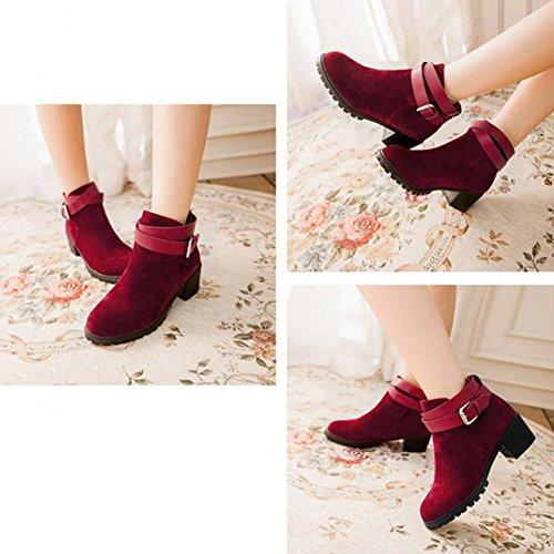 Frestepvie Bottes Classiques Femme Boots Bottine Courtes Ville Confort Chaussure Talon Haut Bloc red