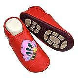 Liya's Hauschuhe Lederpuschen mit Gummisohle - #661 Schmetterling in Rot - Gr. 21/22 EU