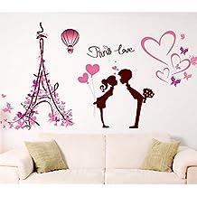 Forma de Corazón de la torre Eiffel los amantes de los de mariposas pared adhesivo PVC Murales vinilo casa papel pintado decoración de la Casa salón dormitorio Arte DIY de imagen para niños Teen Nursery Baby de hockey para adulto