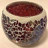 Unique_Uns Romantische Mosaik Kerzenhalter Glas Teelichthalter Teelichtglas Winter Deko Hochzeitsfeier Türkis/Blau/Rosa/Rot/Lila/Bunt (Bunt1 * 2)