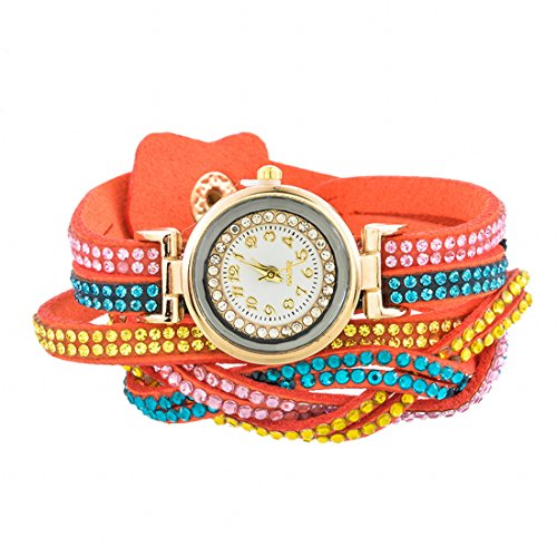 c9f78f5baccec9 MJARTORIA Damen Boho Klein Armbanduhr Elegant mit Strass Damenuhr Analog  Quarz Uhr Orange