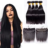 Maxine 8A Brazilian Straight Hair Bundles with Swiss Lace Frontal Closure Straight Virgin Hair 3 Bundles with 13x4 Free Part Lace Frontal Natural Black(12 14 16 with 10)