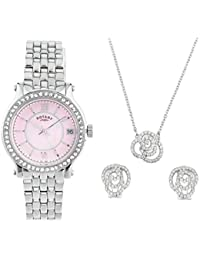 Rotary Ladies Stainless Steel Mother of Pearl 40mm Dial & Crystal Bezel Watch, Pendant and Earrings Jewellery Gift Set