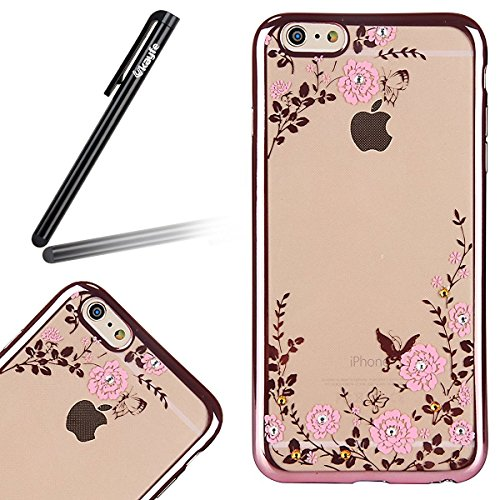 iPhone SE / 5 / 5s Coque Housse Etui, iPhone 5s Argent Coque en Silicone, iPhone 5s Placage Coque Clair Ultra-Mince Rose Gold Etui Housse, iPhone 5 Gel Souple Coque Transparent Housse, iPhone 5 / 5s S Or Rose-Fleurs roses