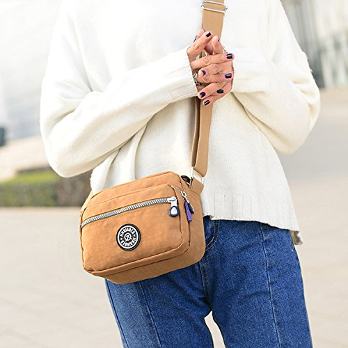 Outreo Schultertasche Designer Umhängetasche Damen Messenger Bag Kleine Reisetasche Wasserdicht Kuriertasche Mode Leichter Taschen für Mädchen Schwarz