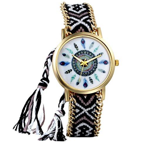 JewelryWe Boho Reloj De Pulsera Étnica De Mujeres, Negro Blanco Cuerd