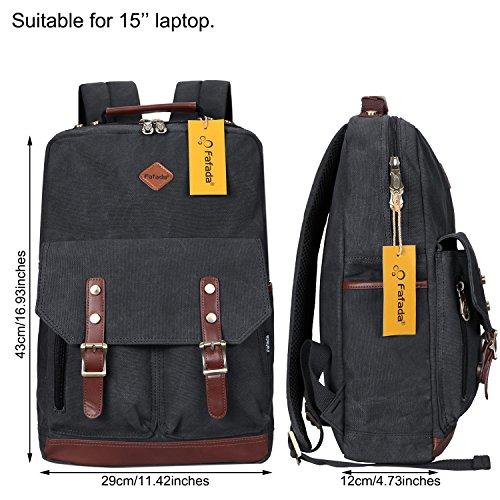 Imagen de fafada  vintage canvas moda unisex laptop  bolso para escuela acampar viajes negro alternativa