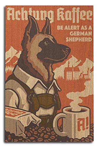 Deutscher Schäferhund–Retro Kaffee AD, holz, multi, 10 x 15 Wood Sign (Kaffee-haus-sammlung)