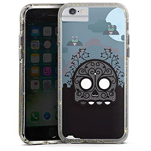 Apple iPhone 7 Bumper Hülle Bumper Case Glitzer Hülle Skull Friedhof Cemetery Bumper Case Glitzer gold