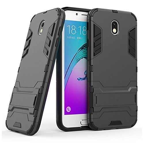 BBR Military Grade Armor Case Defender Series Dual Protection Layer Hybrid TPU + Hard PC Kickstand Case Cover for Samsung Galaxy J2 2016/J210F - Black