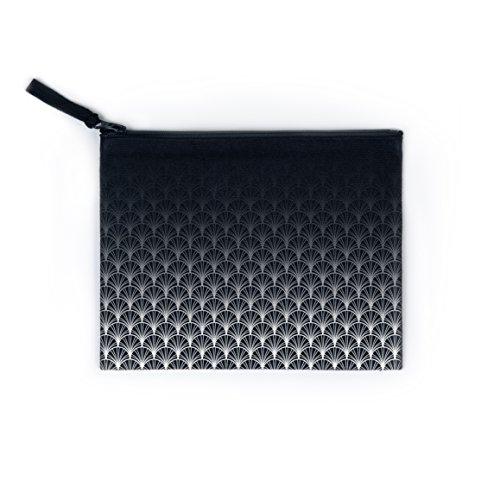 Sakura Noir Fairtrade Tasche Beutel Mäppchen mit geometrischem Print und Biombaumwolle (schwarz weiß art deco) (Art-deco-handtasche)