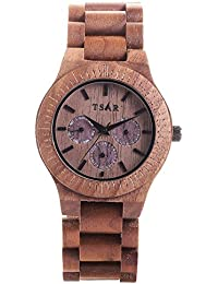 Tsar Wooden Brown Round Dial Analogue Unisex Wood Watch -Tri Classic