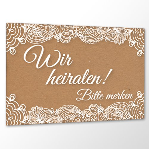 10 x Save The Date Karte Hochzeit - Vintage Love - Karton & Spitze