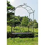 nxtbuy Gartenbank mit Rosenbogen Colima 2-Sitzer Dekorative Bank in Schwarz aus Metall mit Rankhilfe