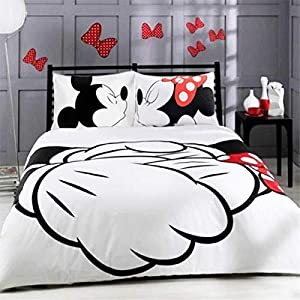 XWXBB Cartoon Mickey Mouse Digitaldruck Duvet 3-teiliges Set Mikrofaser Komfort Heimtextilien Bettwäsche