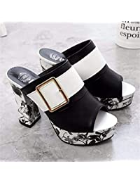 8da68e32ec138 Spring Summer Fashion Women High Heels Thick Heel Slippers Sexy Open Toe  Soft PU Leather Ladies Party Flip…