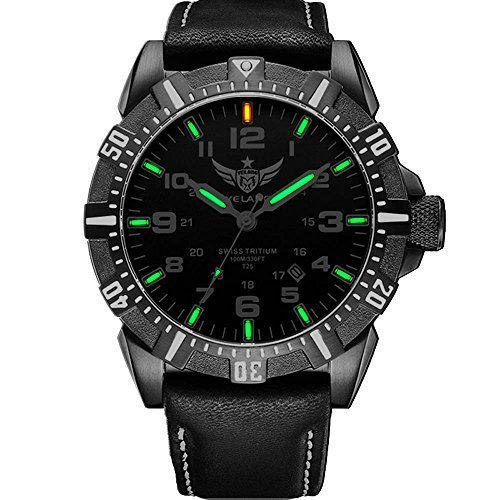 YELANG V1003 leather strap green luminous