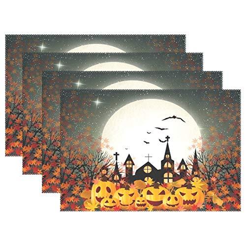 GOODSTHING Tischset, Halloween Pumpkin Autumn Maple Leaves Castle Placemat Table Mat 12