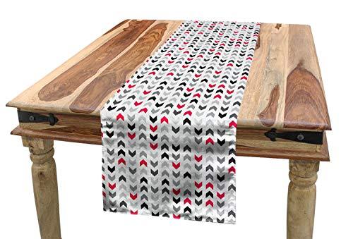 ABAKUHAUS Geometrisch Tischläufer, Roter Zick Zack Chevron, Esszimmer Küche Rechteckiger Dekorativer Tischläufer, 40 x 225 cm, Pink Weiß Grau