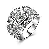Beydodo Sterling Silber Ring Männer Solitär Rund Brillant Weiß Zirkonia Verlobungsring Trauring Silber Größe 62 (19.7)