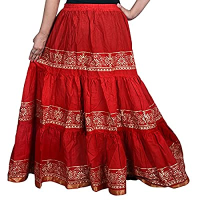 Decot Paradise Women's A-Line Skirt (DL3124_Red_Free Size)