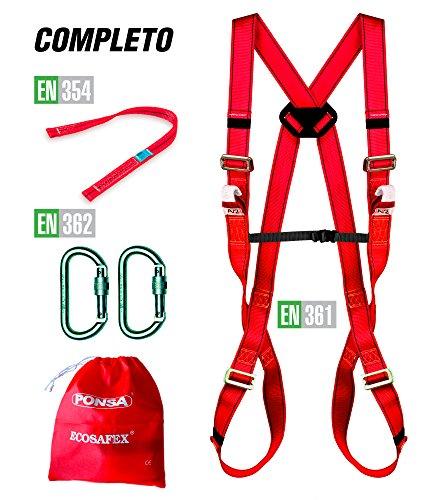 Kit di protezione anticaduta: Imbracatura con 2 punti di ancoraggio + nastro ancoraggio + 2 moschettoni di sicurezza. 031053001001