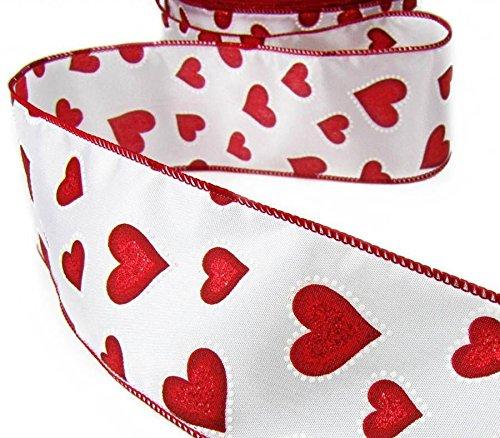 Ribbon Queen Satinband 6,3cm 6,3cm Valentinsherzen rot und weiß Drahtband 3m