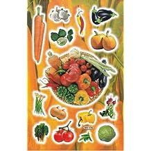 Verduras Cebolla radi Resbalones pimientos zanahoria 15 piezas 1 hoja 270 mm x 180 mm Pegatinas