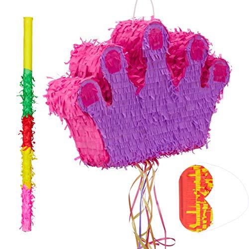 Relaxdays 3 TLG. Pinata Set Krone, mit Pinata Stab und Augenmaske, für Kinder, Geburtstag, zum selbst Befüllen, Zugpinata, bunt