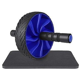 SONGMICS Unisex Adult AB Roller Bauchroller,Bauchtrainer,Rutschfest,mitKniematte,TrainingsgerätfürZuhause blau SPU76BU, Durchmesser vom Rad-18 cm