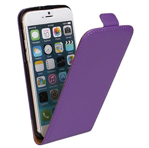iPhone 5 hülle, iPhone se Holster hülle Flip nach oben und unten Handy hülle Premium PU Leder Tasche Flip Case Etui Handy Schutz Hülle für Apple iPhone 5 / 5s se - Rot Lila 2