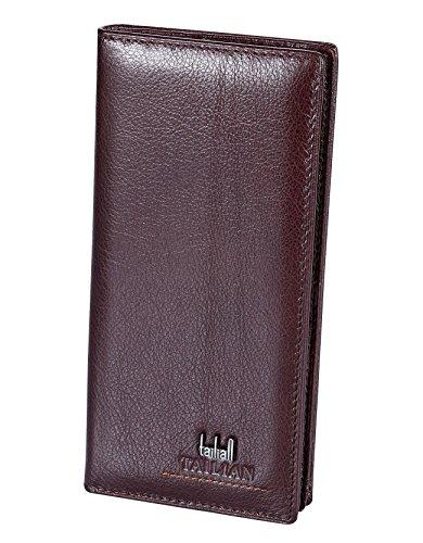 TAILIAN Herren Leder Geldbörsen Kartenhalter Fall Geschenk Geldbörse ID-Inhaber mit RFID-Blockierung (Braun-lange) (Geldbörse Id-kartenhalter)