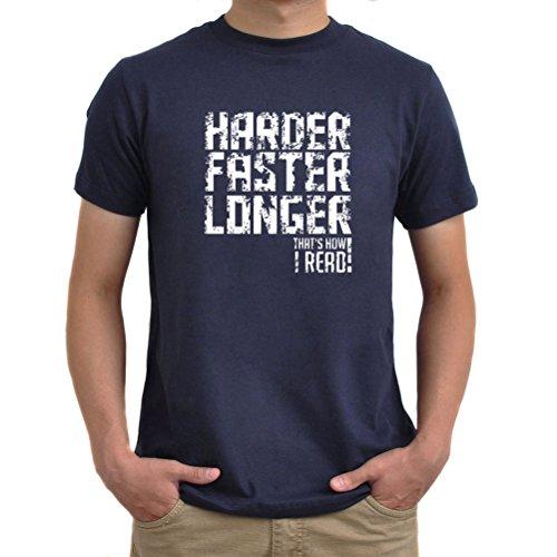 Maglietta Harder Faster Longer That's How I Read! Blu navy