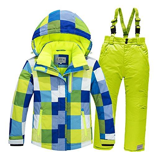 Cravog Skianzug,Kinder Winddicht Baumwolle gepolstert Wasserdicht Skijacke + Skihose